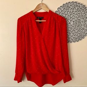 INC Red Rhinestone Long Sleeve V Neck Wrap Blouse
